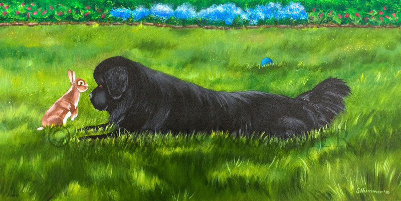 """""""Best Buddies""""  © 2010  By Sharon Nummer Acrylic on Linen Canvas Original in private collection"""